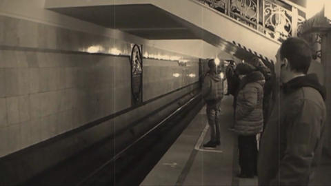 The arrival of the train in Moscow metro, black,white,color, Live Action