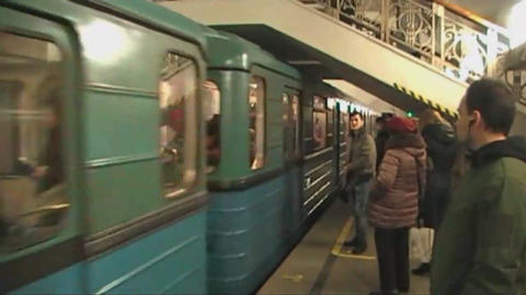 The arrival of the train in Moscow metro, black,white,color Filmmaterial