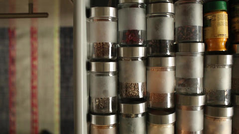 Spices in glass jars Footage