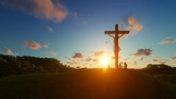 Jesus on cross against beautiful sunset, believers praying Animation