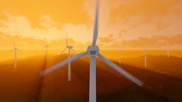 Wind turbine farm with rays of light at sunset Animation