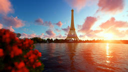 Seine in Paris with Eiffel Tower against beautiful sunset Animation