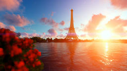 Seine in Paris with Eiffel Tower against beautiful sunset Stock Video Footage