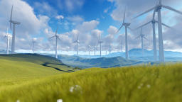Wind turbine farm over green meadow against cloudy sky Animation