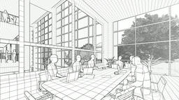 Business team silhouettes meeting, office building, tilt, 3d sketch to color Animation