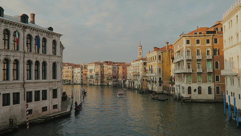 Venice, Italy Grand Canal view with gondolas Footage