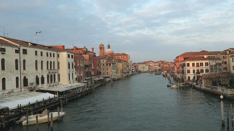 Venice, Italy Grand Canal view with historic buildings and mooring piles Footage