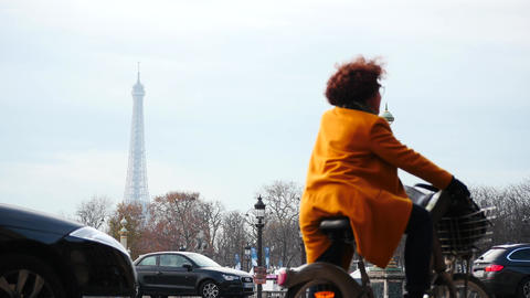Paris Champs Elysees cars and people motion time lapse Footage