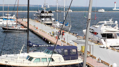 Yachts berthed In the port of Odessa Footage