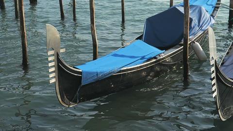 Venice, Italy docked empty gondolas detail Footage