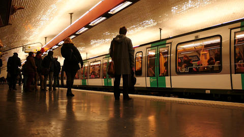 Subway trains and people time lapse in Paris station Drouot Richelieu Footage