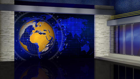 HD News-57 TV Virtual Studio Green Screen Background Blue Yellow with Globe Animation