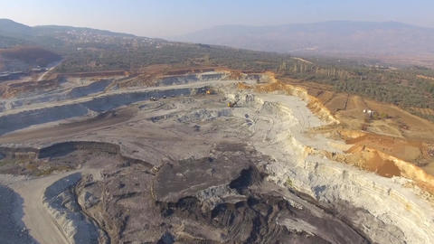 Coal Mining Field and Machines in Turkey Footage
