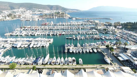 Nice aerial view of Bodrum Marina and Castle, Turkey Footage