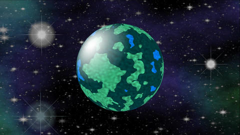Dark blue and green planet in outer space. Cosmos sci-fi video, 3d computer gene Animation