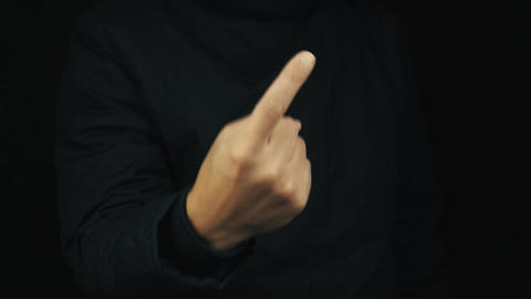 Male hand in long sleeve jacket unbend fingers making counting gesture sign Footage