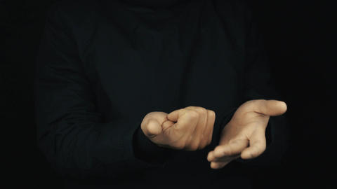 Male hand in long sleeve jacket bend fingers making counting gesture sign Footage