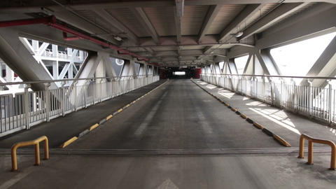 Empty parking lot tunnel road. Industrial interior Footage