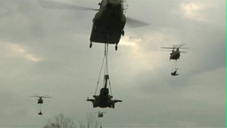 Boeing CH-47 Chinook Helicopter filed operations Footage