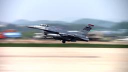 F-16 fighter jet landing Footage