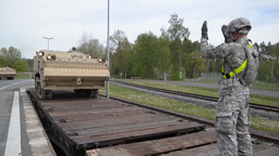 Loading Tanks on train, EAS Railhead Operations Footage