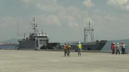 landing craft units coming from Okinawa carrying ammunition Footage