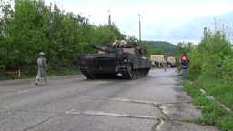 Moving Tanks in Germany M1A2 Abrams and Bradley Footage