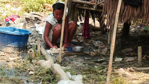 poor people in Myanmar = 2 videos sequence Footage