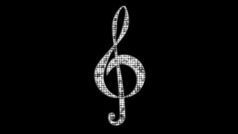 Glitter Treble Clef Loop with Alpha Channel Animation