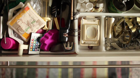 Utensils in kitchen drawer Footage