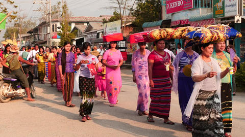 March 2016 Group of people in religious procession Nyaung Shwe closeup Footage