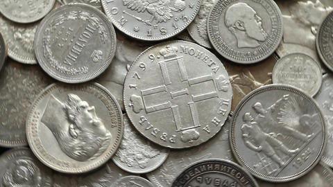 Silver coins Imperial Russia1 Footage