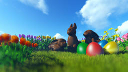 Easter Eggs and Chocolate Bunnies on green meadow with colorful tulips Animation