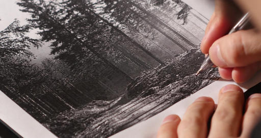 Hand of man who copy with a pen a drawing with trees 32 Footage