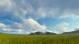 Green grass blowing in the wind with mountain range against stormy clouds Animation