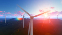 Wind turbine farm with rays of light at sunrise Animation