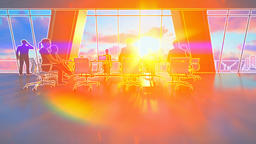 Business team in conference room, rear view sunset, 3d illustration Animation