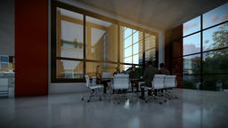 Business team meeting in conference room, evening, tilt Animation