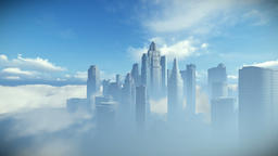 City skyline against blue sky, flight over clouds Animation