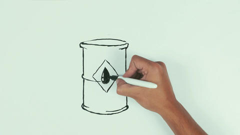 Man hand draw oil barrel with dollar sign using black marker pen on whiteboard Live Action