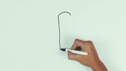 Man hand draw exclamation point using black marker pen on whiteboard and wipe it Footage