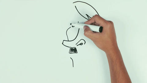 Man draw adolf hitler face caricature with black marker pen on whiteboard Live Action