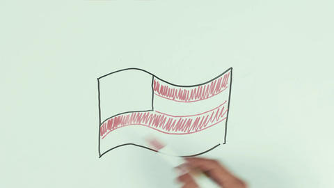 Man hand draw burning usa flag using color marker pens on whiteboard and wipe it Footage
