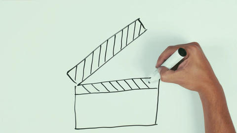 Man hand draw movie clapper using black marker pen on whiteboard and wipe it Live Action