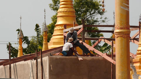 New pagoda building In Myanmar near Inle lake close up and afar views - 2 videos Footage