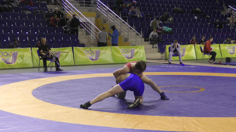 Orenburg, Russia – March 16, 2017 year: Boys compete in freestyle wrestling
