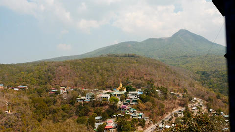 Clouds motion with shadows on ground - view from Popa hill, Myanmar. 2 time laps Footage
