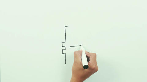 Drawing a ruble sign. Black marker on whiteboard Footage