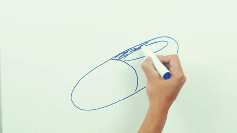 Hand drawing blue and red colored pill on whiteboard Footage