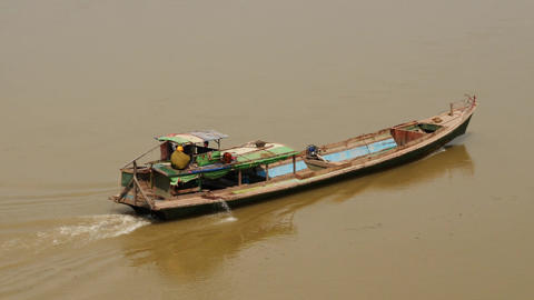 Motor boat on Irrawaddy river in Myanmar - few video sequence Footage